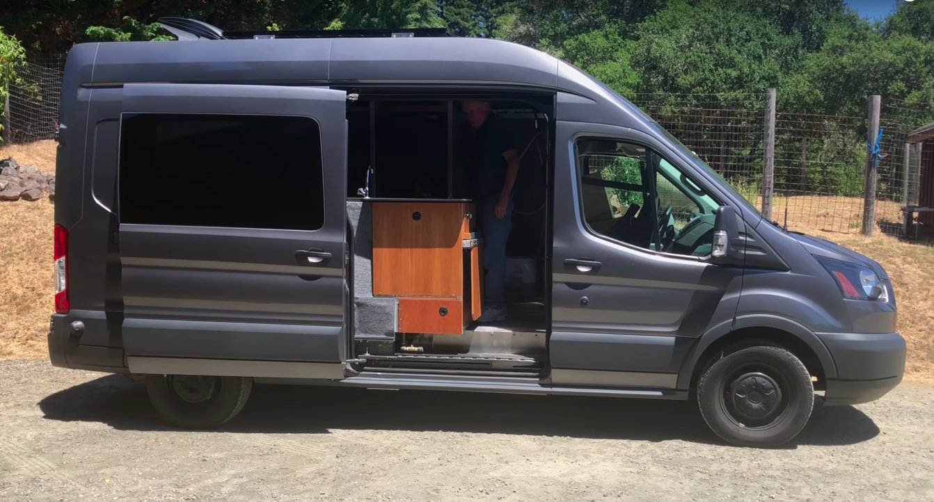 Retired Winery Engineer Converts Ford Transit Into Stealth Off Grid Campervan Indoor Shower Toilet