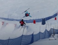 VIDEO: Mogul Skier Quick Reaction Time Saves Collision