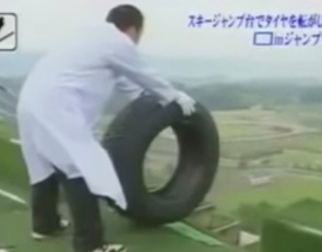 Start Your Day With With Japanese People Sending Tires Off A Ski Jump