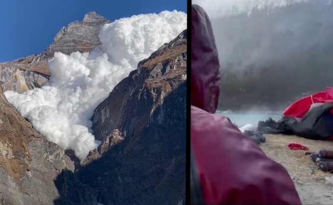 VIDEO: Shockwave From Massive Avalanche Sends Gear Flying And Hikers Running