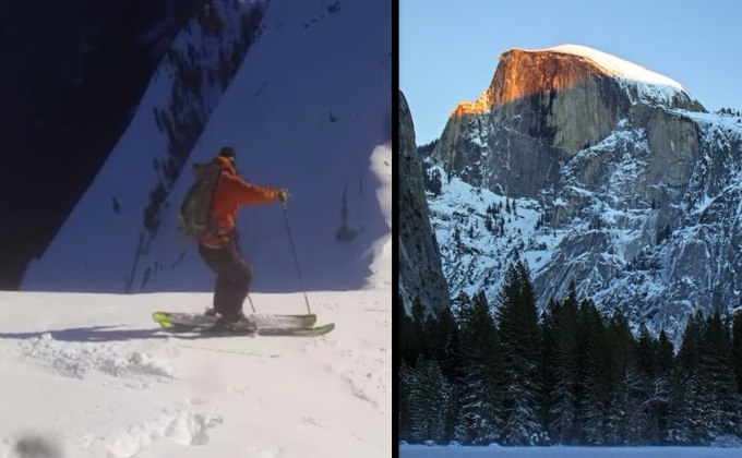 Half Dome in Yosemite Skied For The First Time