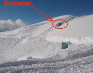 Watch: Groomer Triggers Avalanche, Rides Out Like A Madman, And Keeps On Working!