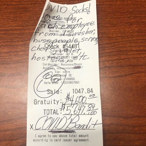"""Colorado """"COVID Bandit"""" Strikes Again...Has Now Left More Than $10K in Tips"""