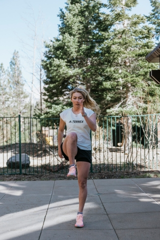 Mikaela Shiffrin, Shaun White Log Spring Training Session at Mammoth Mountain