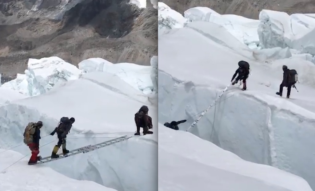 VIDEO: Snow Anchor Blows & Everest Climbers Tumble From Ladder Bridge