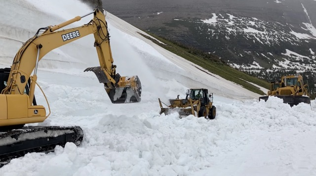 Road Crews Tackle The Big Drift in Glacier National Park (80ft Snowdrifts)