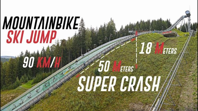Mountain Bike World Record Ski Jump Attempt Does Not Go To Plan